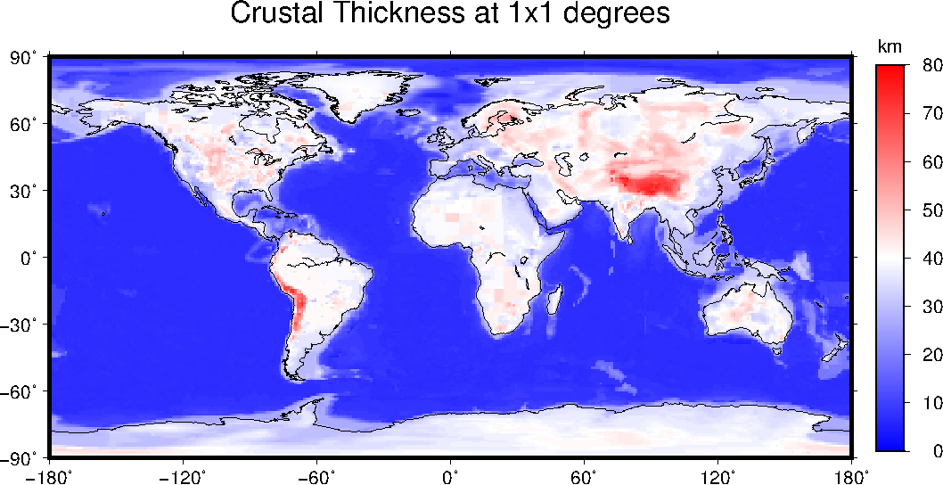 Global Crustal Thickess at 1x1 degree